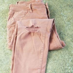 Old Navy Rockstar Skinny Jeans Mid Rise - Salmon